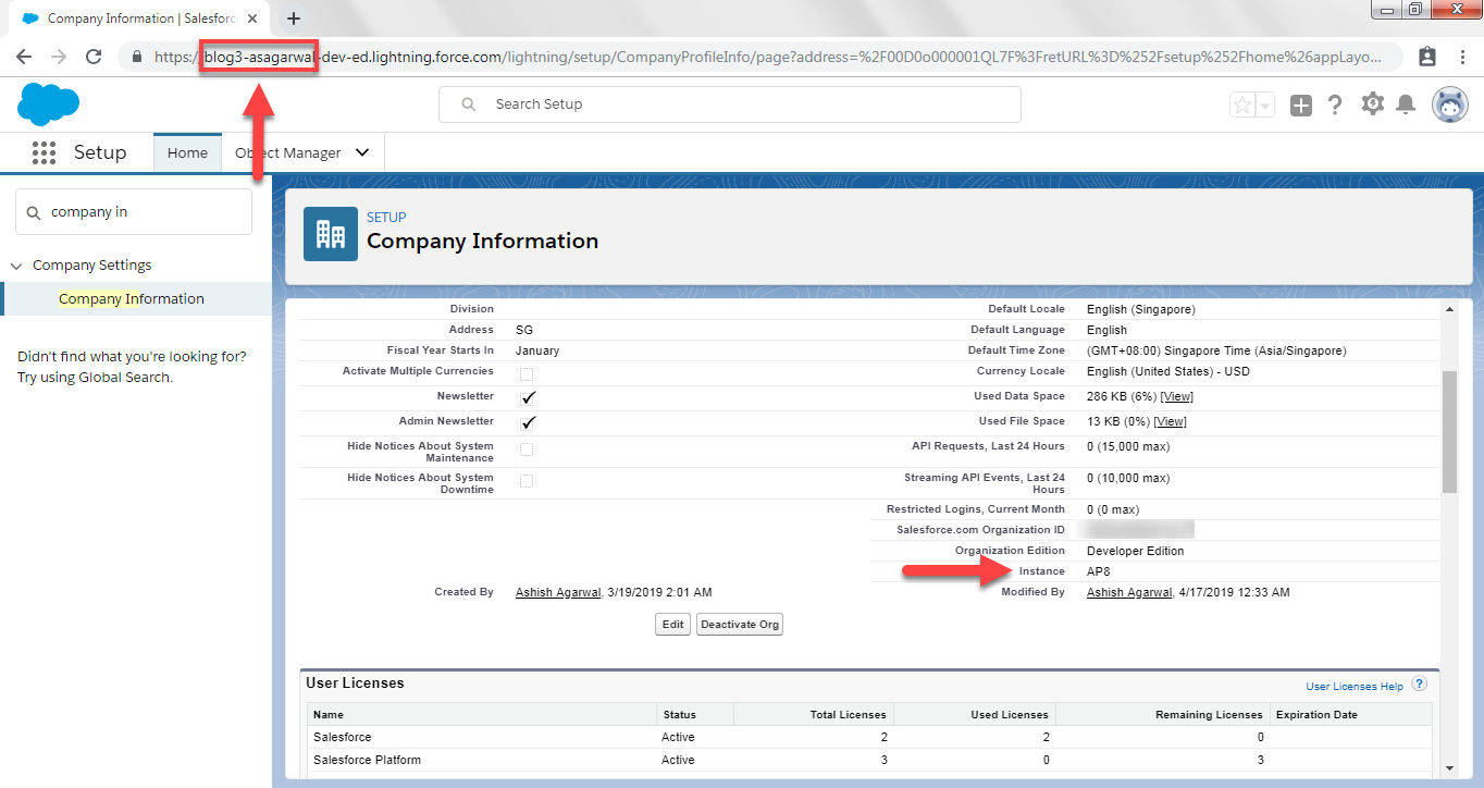 Checking Salesforce Instance Name in Company Profile