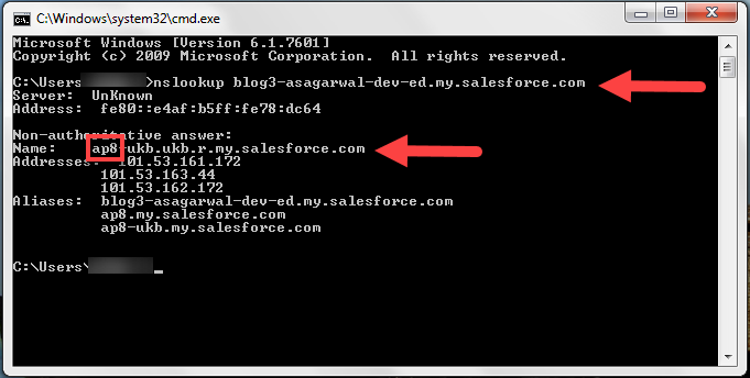 Checking Salesforce Instance Name through nslookup