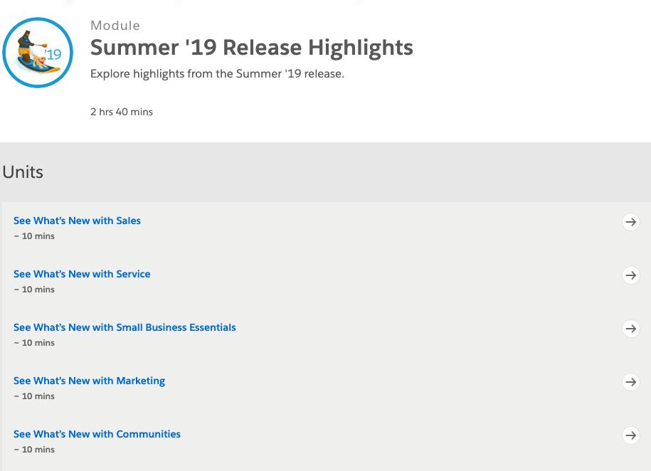 Salesforce Summer 19 Trailhead Module