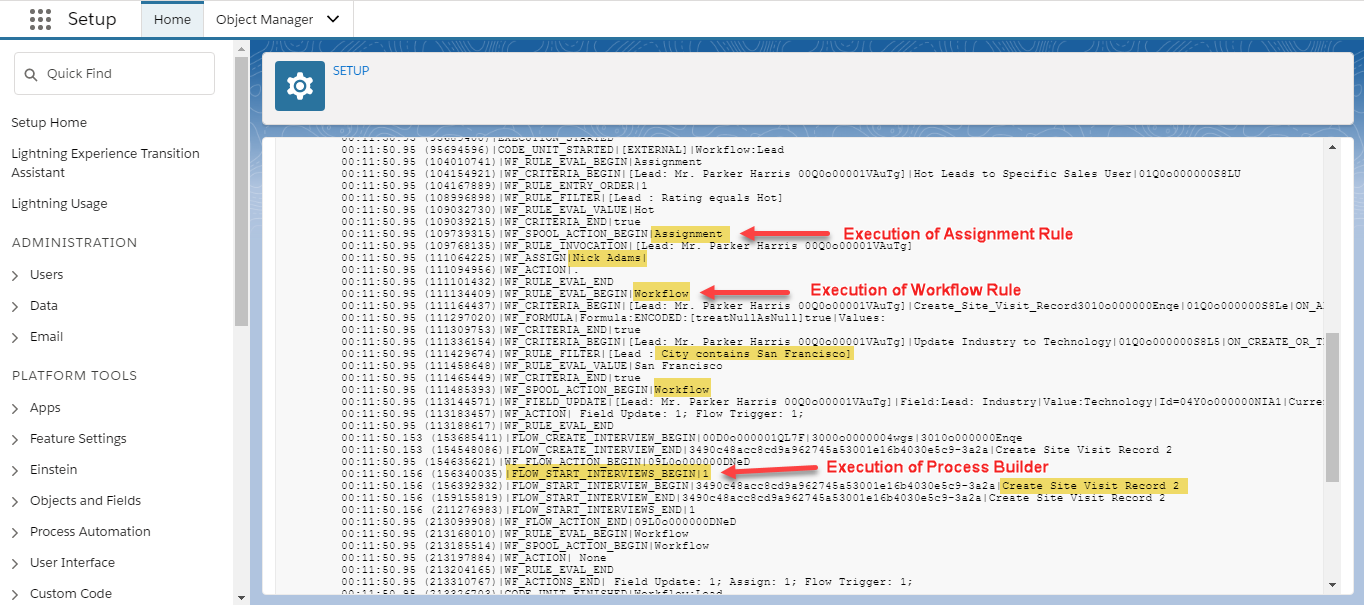 Debugging Order of Execution in Salesforce