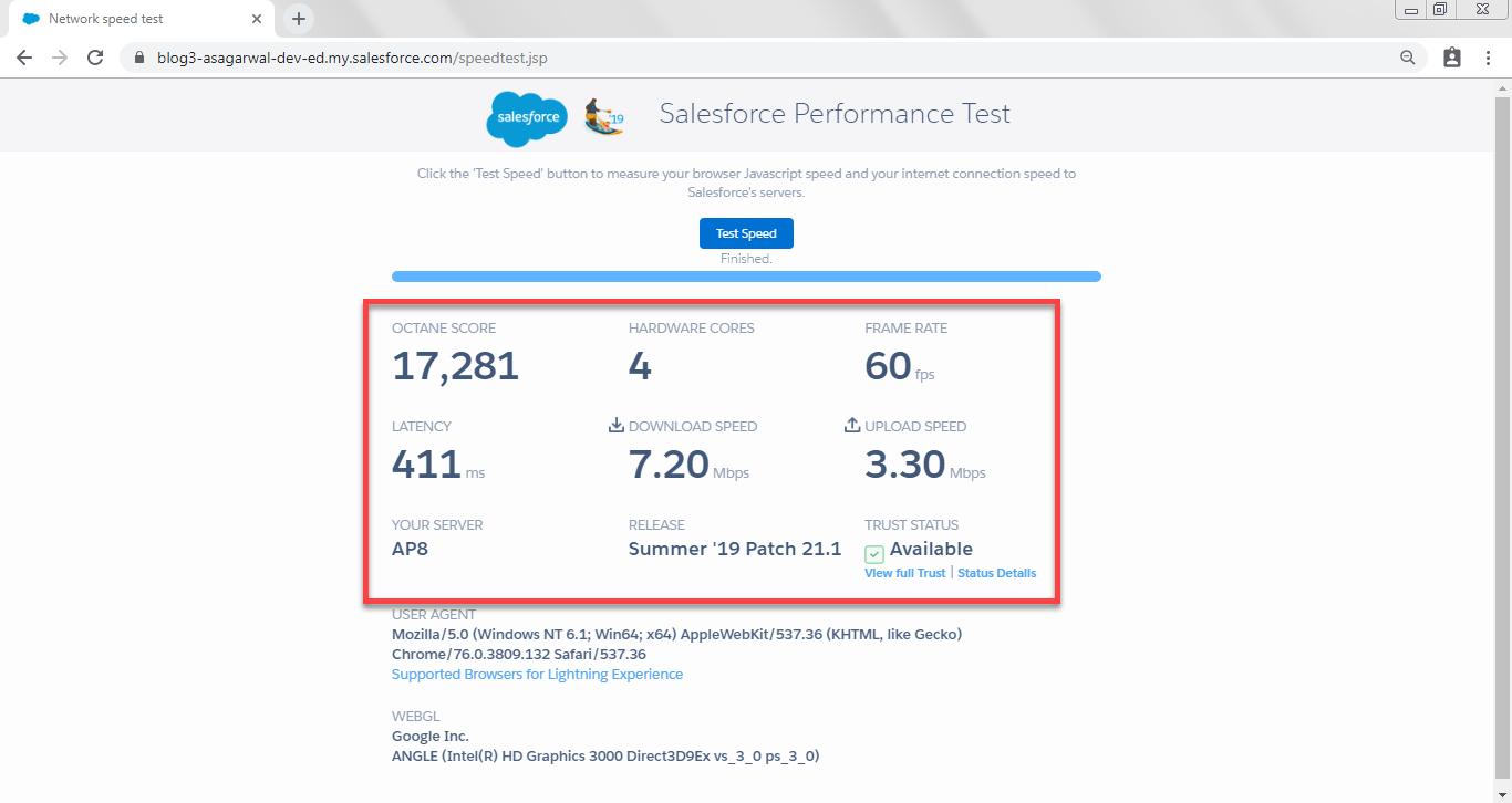 Salesforce Performance Test results show octane score, upload & download speed etc.