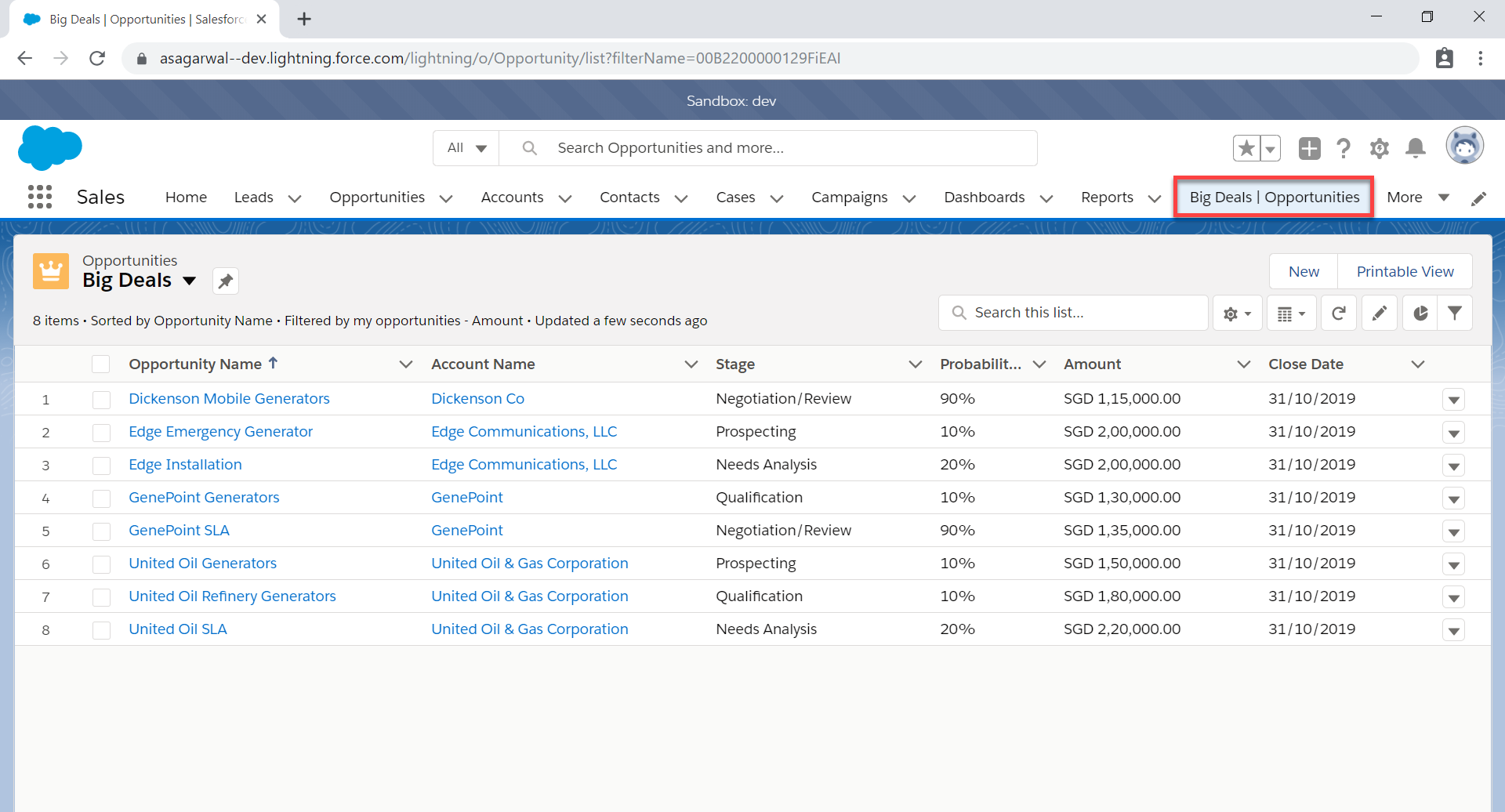 List view as a tab in Salesforce