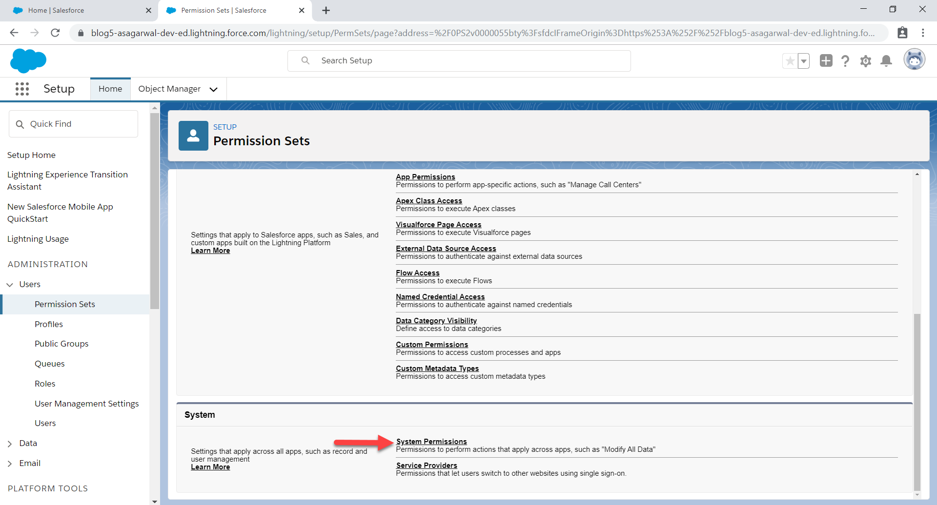 click system permissions