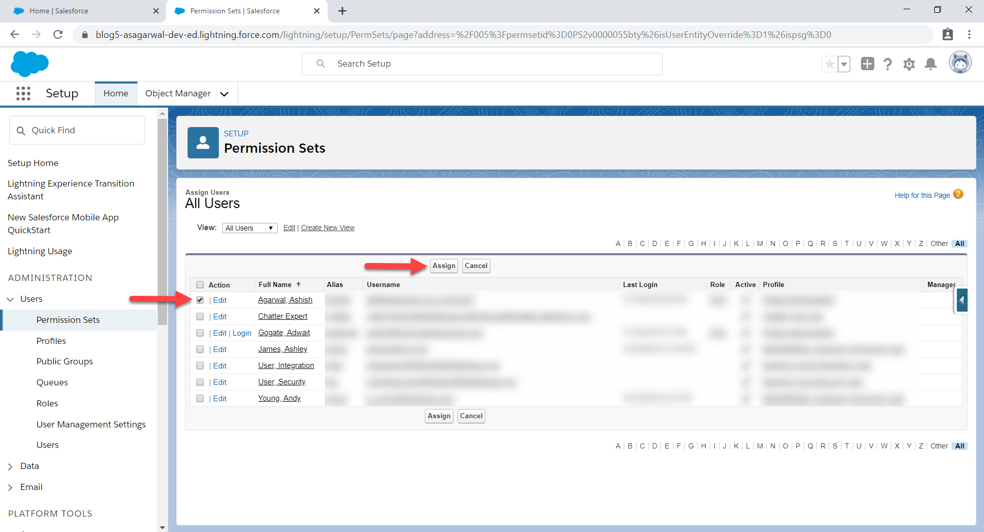 select users and click assign
