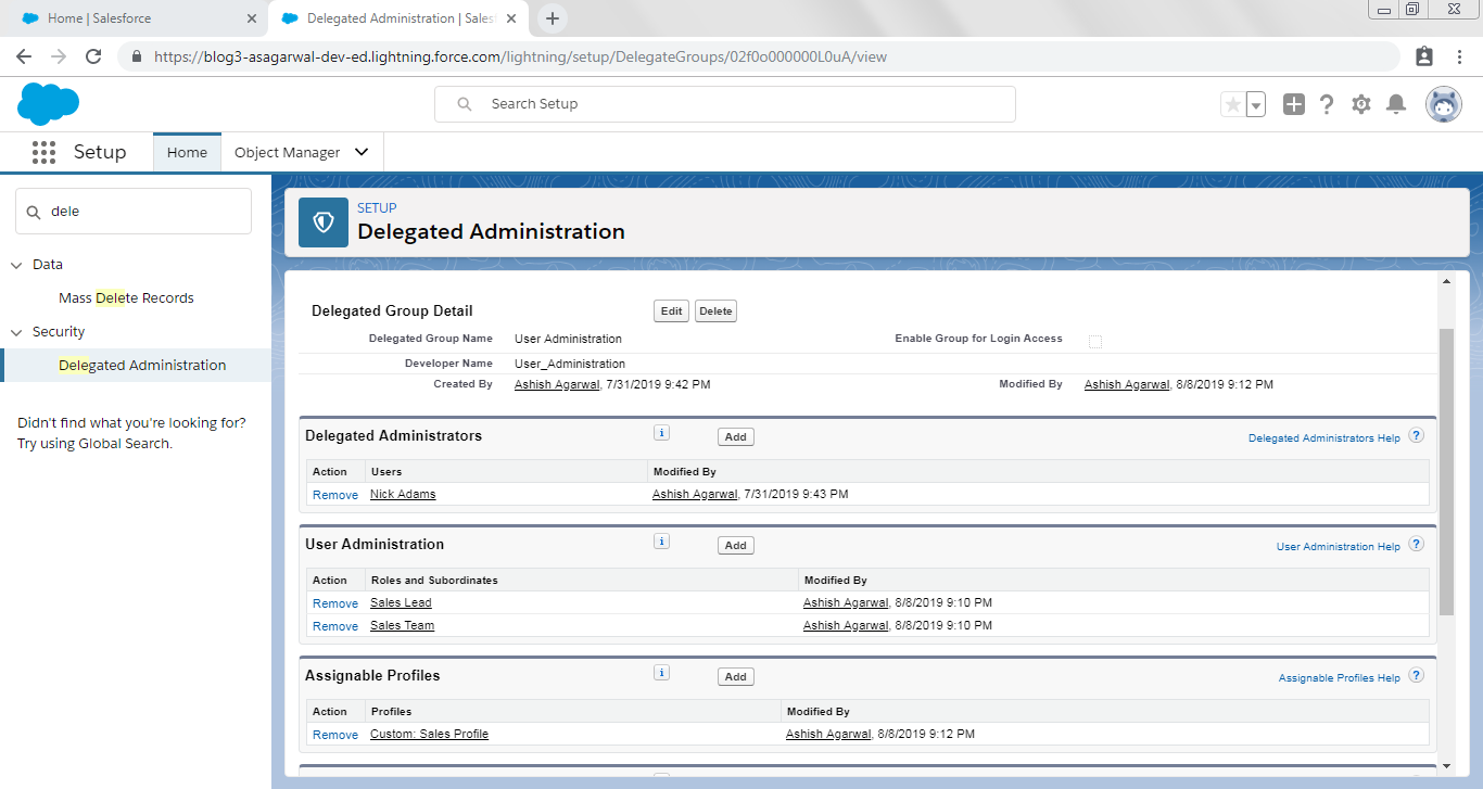 Salesforce Delegated Administration