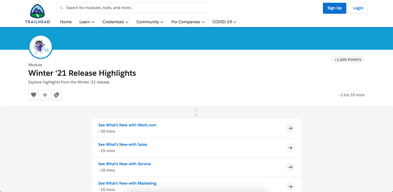 Salesforce Winter '21 Release Features Trailhead Module