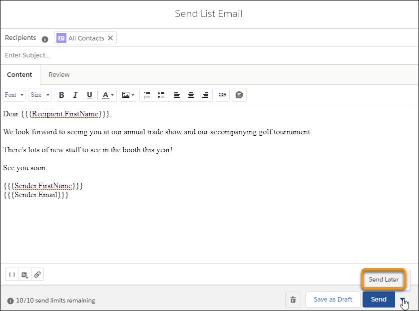 schedule list emails