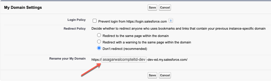 can't change my domain URL in Salesforce