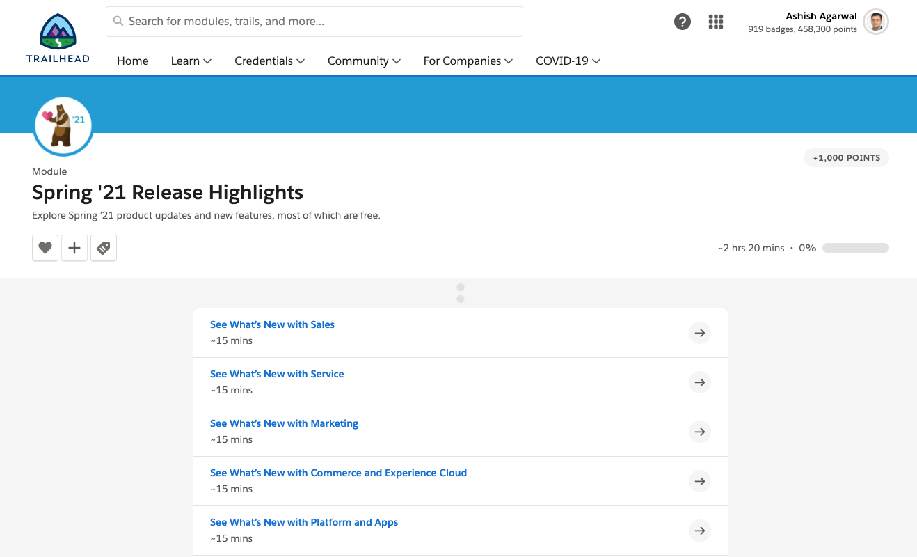 Salesforce Spring '21 Release Features Trailhead Module