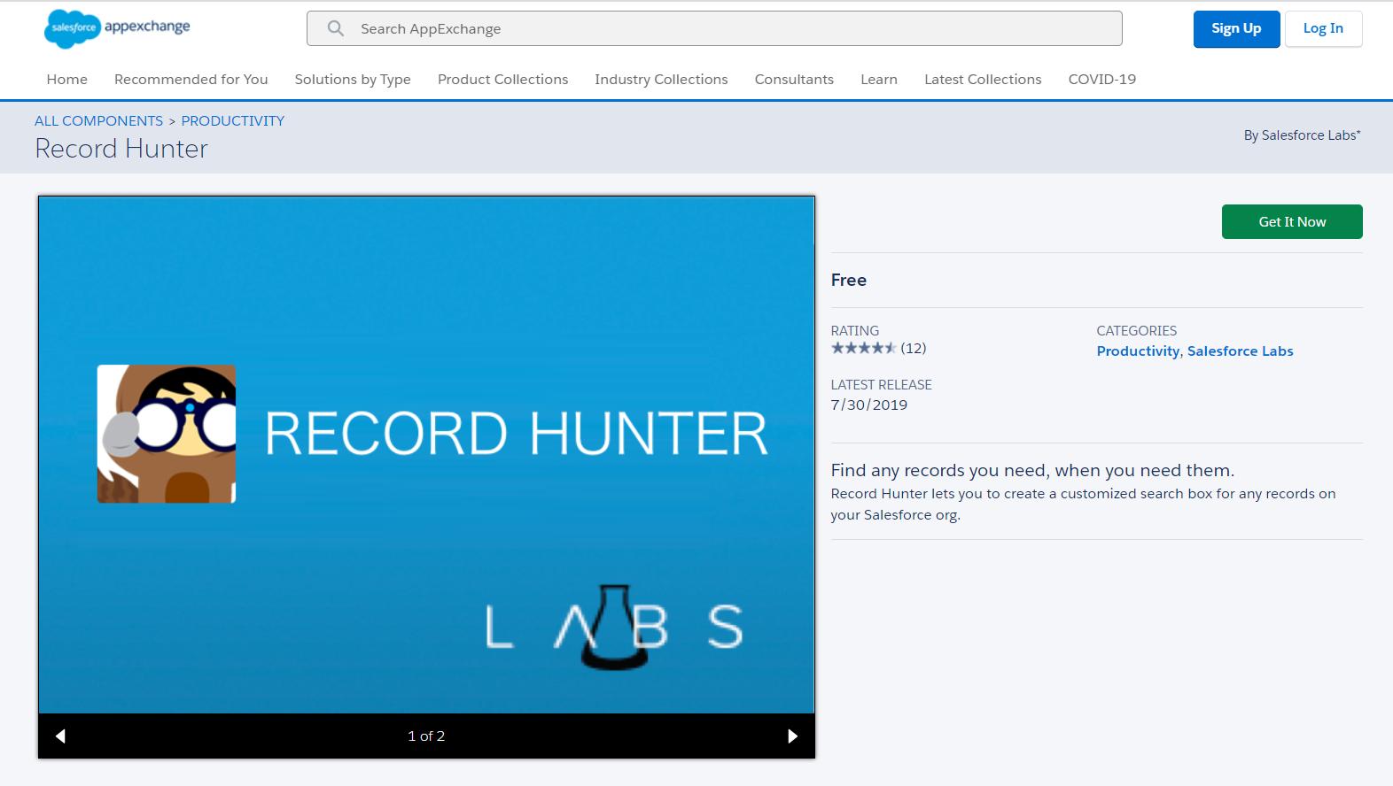 record hunter component