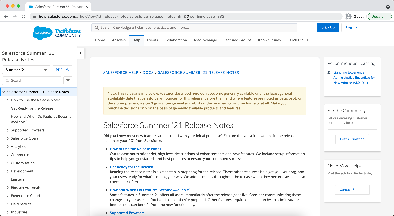 Salesforce Summer '21 Release Notes