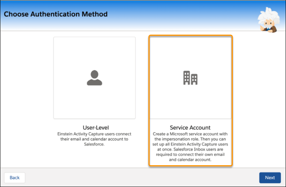 Service Account with Microsoft Exchange