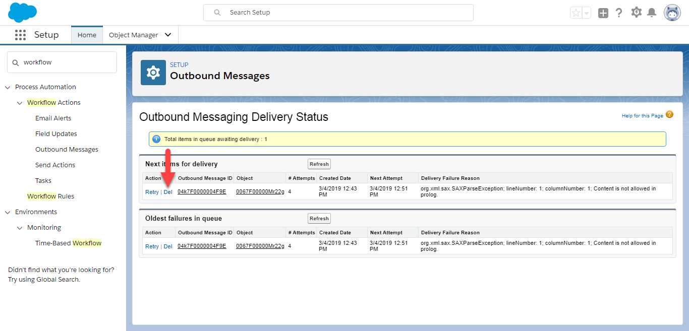 Delete Outbound Message from Queue
