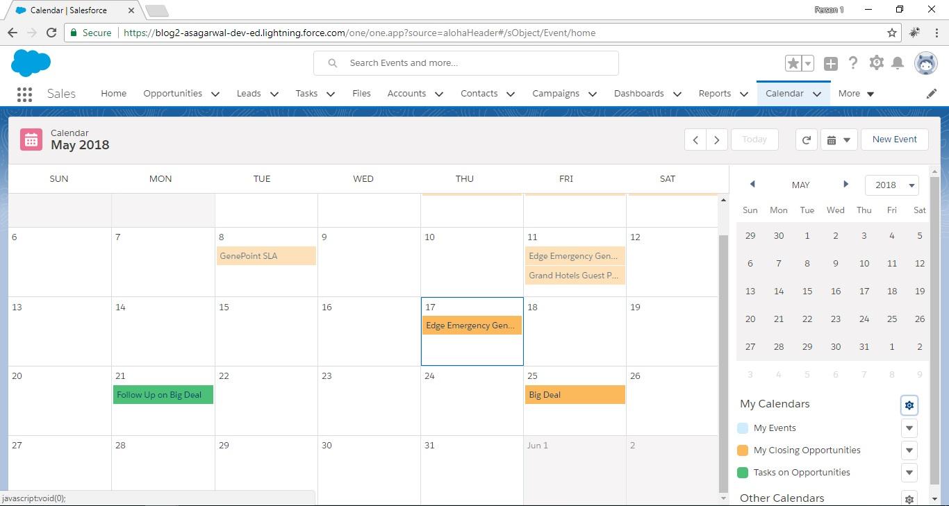 visualize data on calendar in salesforce