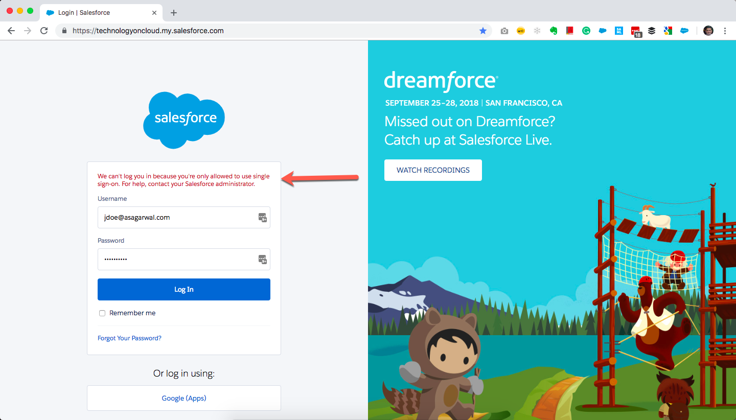 Disable direct login to Salesforce