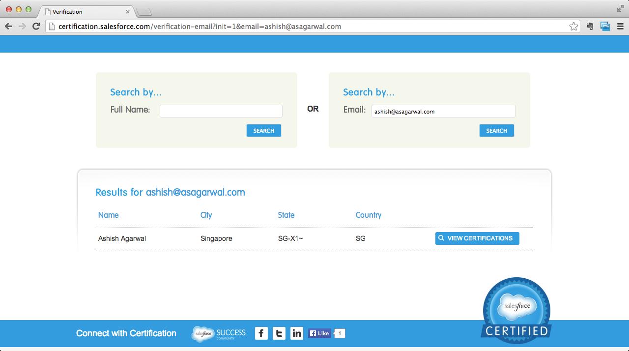 Salesforce.com Certification Verification