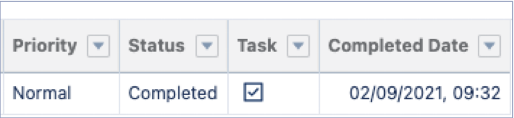 New Field CompletedDateTime on Task Object