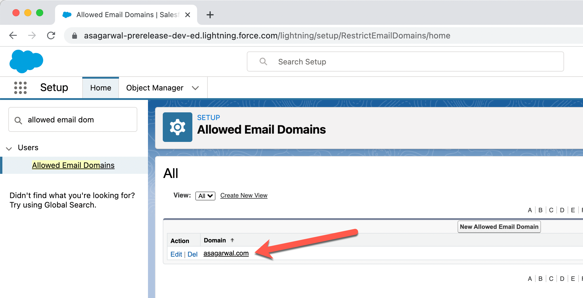 Restrict Email Domain of Salesforce Users